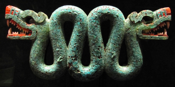 Aztec turquoise double headed serpent, The British Museum.