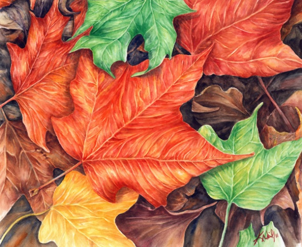 Autumn leaves, watercolour, 2011