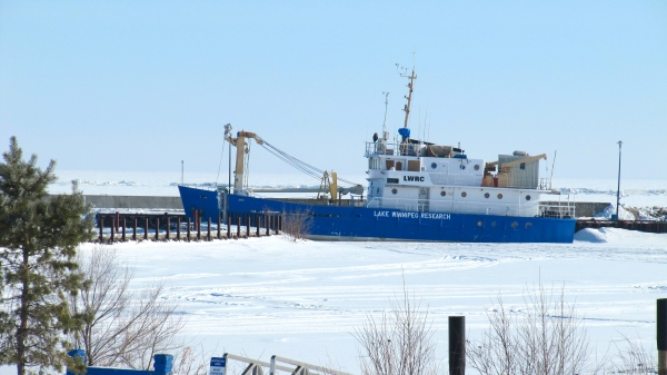 The lone boat in Gimli harbour.