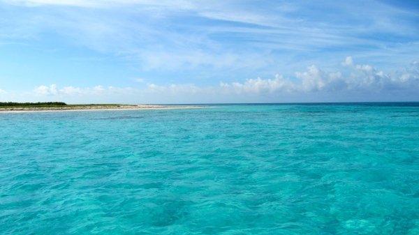 Arriving at our snorkel destination -- French Cay.