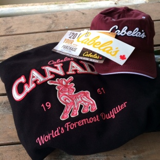 Free stuff from Cabela's. The sweatshirt came in handy.