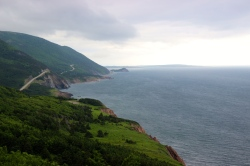 Driving the Cabot Trail, Cape Breton, Nova Scotia, Canada.